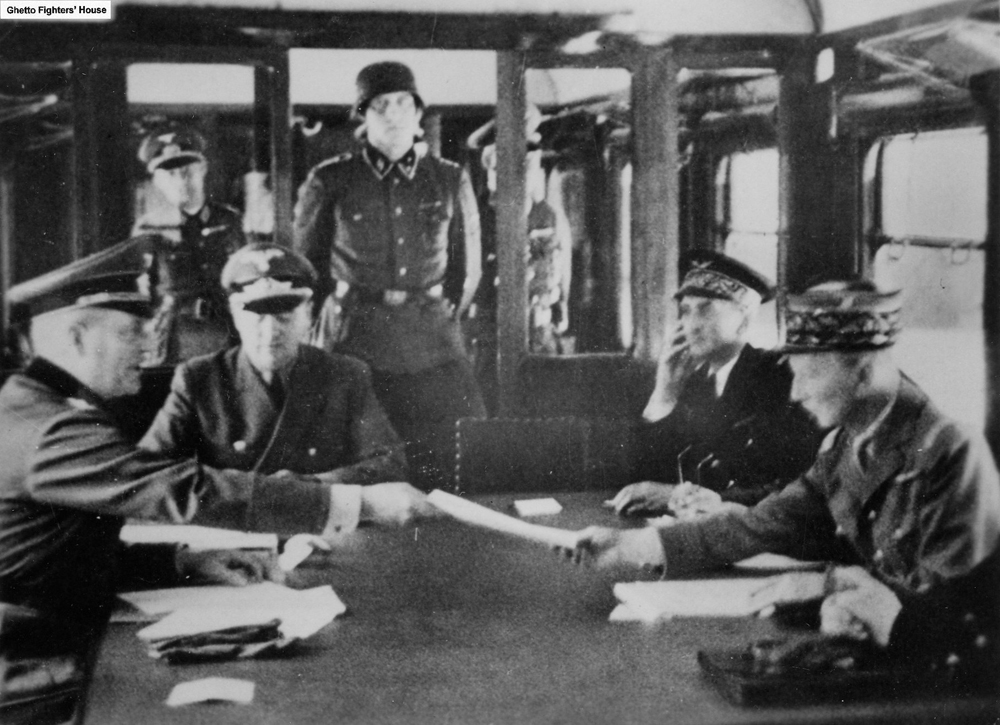 Wilhelm Keitel accepting the French surrender from Charles Huntz