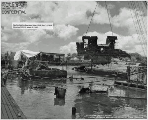 US_Arizona_BB39-_Salvage_2229-43_Lifting_underwater_wreckage_aft_of_conning_tower_foundation_-_NARA_-_296933_zps2797b193_compressed